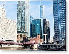 Chicago River Skyline Acrylic Print by Paul Velgos