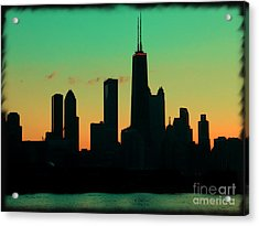Chicago Skyline Cartoon Acrylic Print by Sophie Vigneault