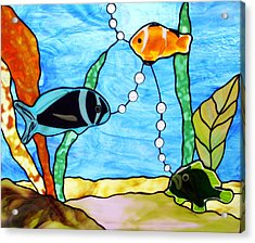 3 Fishes In The Sea Acrylic Print by Jane Croteau