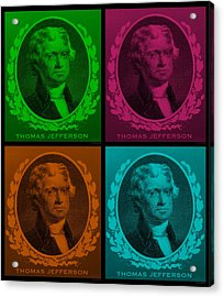Thomas Jefferson In Quad Colors Acrylic Print by Rob Hans