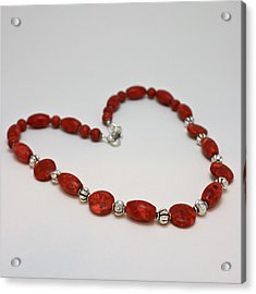 3612 Red Coral Necklace Acrylic Print by Teresa Mucha