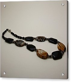 3617 Crackle Agate And Onyx Necklace Acrylic Print by Teresa Mucha