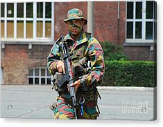 A Paratrooper Of The Belgian Army Acrylic Print by Luc De Jaeger