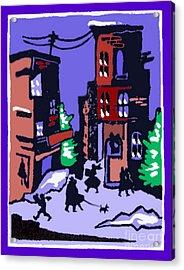 Christmas Street Scene Acrylic Print by Elinor Mavor