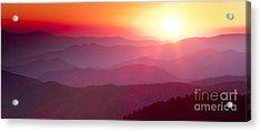 Great Smokie Mountains Sunset Acrylic Print by Dustin K Ryan
