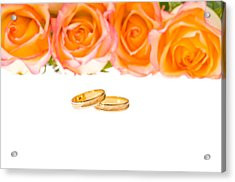 4 Red Yellow Roses And Wedding Rings Over White Acrylic Print by Ulrich Schade