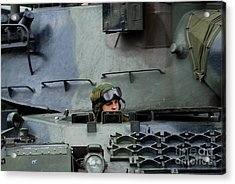 Tank Driver Of A Leopard 1a5 Mbt Acrylic Print by Luc De Jaeger