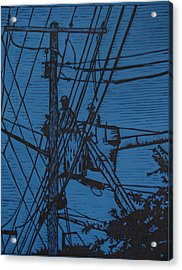 Working On Lines Acrylic Print by William Cauthern