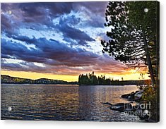 Dramatic Sunset At Lake Acrylic Print by Elena Elisseeva