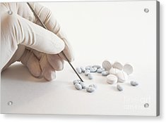 Gloved Hand And Medicinal Pills Acrylic Print by Blink Images