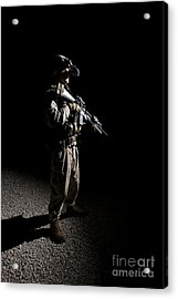 Partially Silhouetted U.s. Marine Acrylic Print by Terry Moore
