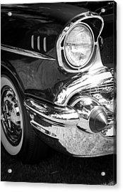 57 Chevy Black Acrylic Print by Steve McKinzie
