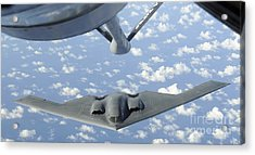 A B-2 Spirit Approaches The Refueling Acrylic Print by Stocktrek Images