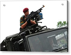 A Belgian Paratrooper Manning A Fn Mag Acrylic Print by Luc De Jaeger