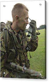 A British Army Soldier Radios Acrylic Print by Andrew Chittock