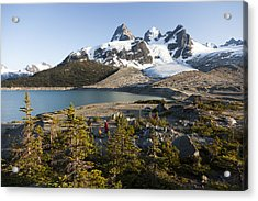 A Campsite Next To A Blue Glacier Fed Acrylic Print by Taylor S. Kennedy
