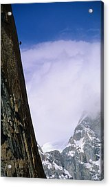 A Climber Rappels Down The Sheer Acrylic Print by Bill Hatcher