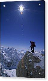 A Climber With An Ice Axe Above Snow Acrylic Print by Bill Hatcher