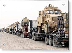 A Convoy Of Mine-resistant Ambush Acrylic Print by Stocktrek Images