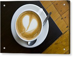 A Cup Of Coffee With A Heart Design Acrylic Print by Bill Hatcher