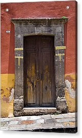 A Door In A Painted Building Acrylic Print by David Evans