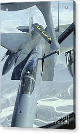 A F-15 Eagle Receives Fuel Acrylic Print by Stocktrek Images