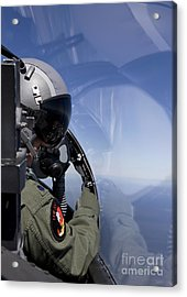 A F-15 Pilot Looks Over At His Wingman Acrylic Print by HIGH-G Productions
