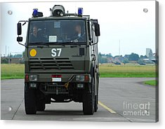 A Fire Engine Based At The Air Force Acrylic Print by Luc De Jaeger