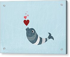 A Fish Blowing Love Heart Bubbles Acrylic Print by Jutta Kuss