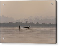 A Fisherman Pulls In His Net Acrylic Print by Alex Treadway