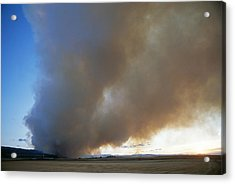 A Forest Fire Burns In The Gallatin Acrylic Print by Gordon Wiltsie