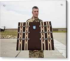 A German Soldier Holds A Display Acrylic Print by Terry Moore