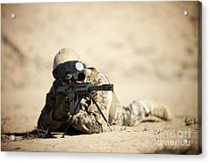 A German Soldier Sights In A Barrett Acrylic Print by Terry Moore