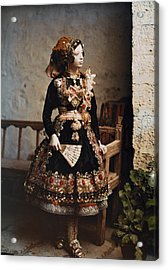 A Girl Poses In Her Traditional Costume Acrylic Print by Gervais Courtellemont