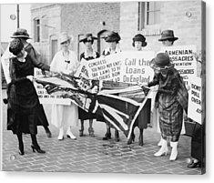 A Group Of Irish-american Women Tearing Acrylic Print by Everett