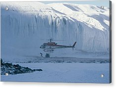 A Helicopter Delivers Supplies Acrylic Print by Maria Stenzel
