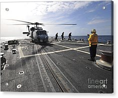 A Helicpter Sits On The Flight Deck Acrylic Print by Stocktrek Images