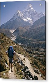 A Hiker With A Mountain Range Acrylic Print by Michael Klesius
