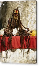 A Hindu Holy Man With Streaming Acrylic Print by Michael Melford