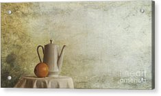 A Jugful Tea And A Orange Acrylic Print by Priska Wettstein