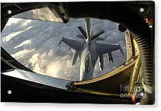 A Kc-135 Stratotanker Connects With An Acrylic Print by Stocktrek Images