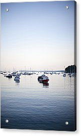 A Large Group Of Boats Float In A Maine Acrylic Print by Hannele Lahti