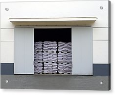 A Large Warehouse Entrance. Blocked Acrylic Print by Guang Ho Zhu