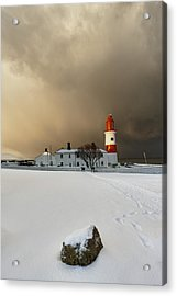 A Lighthouse And Building In Winter Acrylic Print by John Short
