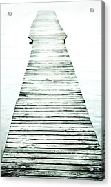 A Long And Old Wooden Bridge Into The Bright Light Acrylic Print by Joana Kruse