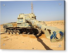 A M109 Howitzer Destroyed By Nato Acrylic Print by Andrew Chittock