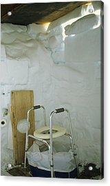 A Makeshift Bathroom Is Set Acrylic Print by Gordon Wiltsie