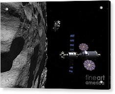 A Manned Maneuvering Vehicle Descends Acrylic Print by Walter Myers
