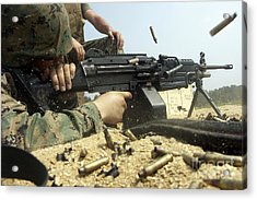 A Marine Engages Targets With An M-249 Acrylic Print by Stocktrek Images