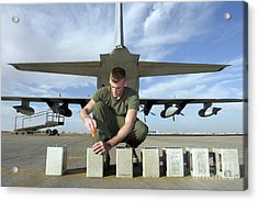 A Marine Replaces Flares In Flare Acrylic Print by Stocktrek Images